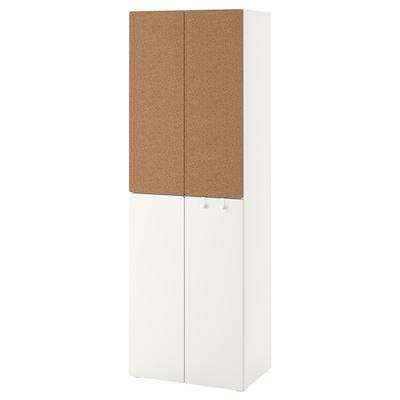 SMÅSTAD Armoire-penderie, blanc liège/avec 2 tringles à vêtements, 60x42x181 cm