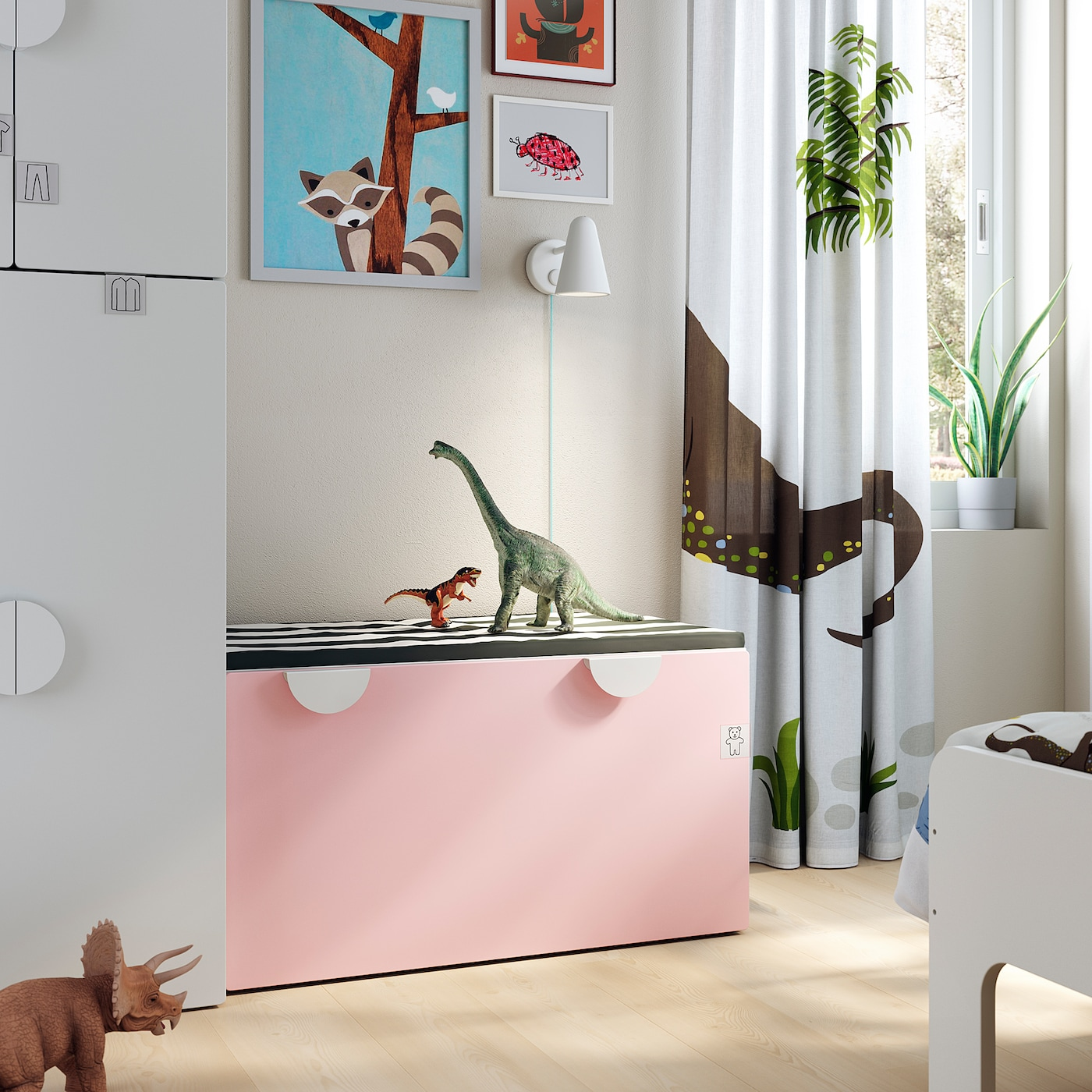 Smastad Banc Avec Rangement Jouets Blanc Rose Pale Ikea Suisse