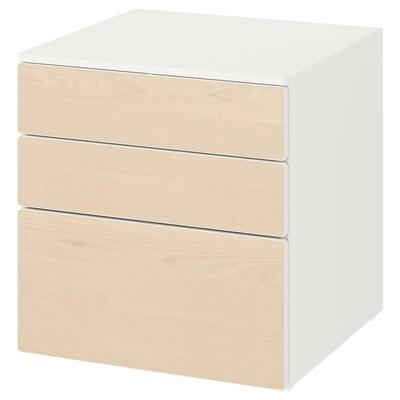 SMÅSTAD / PLATSA Commode 3 tiroirs, blanc/bouleau, 60x55x63 cm