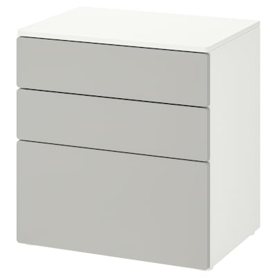 SMÅSTAD / PLATSA Commode 3 tiroirs, blanc/gris, 60x42x63 cm