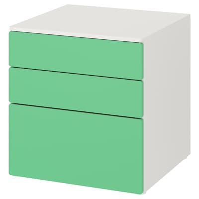 SMÅSTAD / PLATSA Commode 3 tiroirs, blanc/vert, 60x57x63 cm