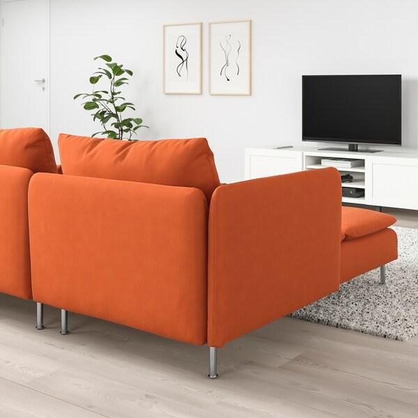 SÖDERHAMN Canapé 4 places, avec méridienne et sans accoudoir/Samsta orange