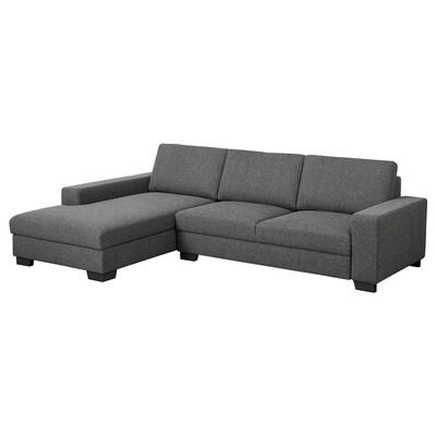 SÖRVALLEN Canapé 3 places, avec méridienne, gauche/Lejde gris foncé