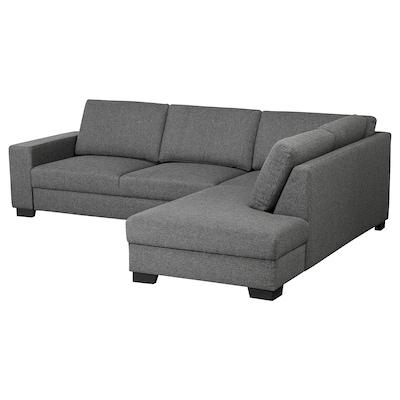 SÖRVALLEN Canapé d'angle, 3 places, sans accoudoir à droite/Lejde gris foncé