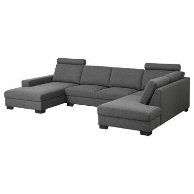 SÖRVALLEN Canapé d'angle, 4 places, avec méridienne, gauche/Lejde gris foncé