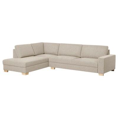 SÖRVALLEN Canapé d'angle, 4 places, sans accoudoir à gauche/Lejde beige foncé
