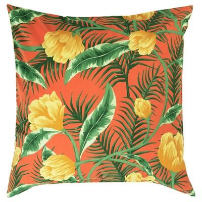 SOLBLEKT Housse de coussin, intérieur/extérieur/motif floral orange, 65x65 cm