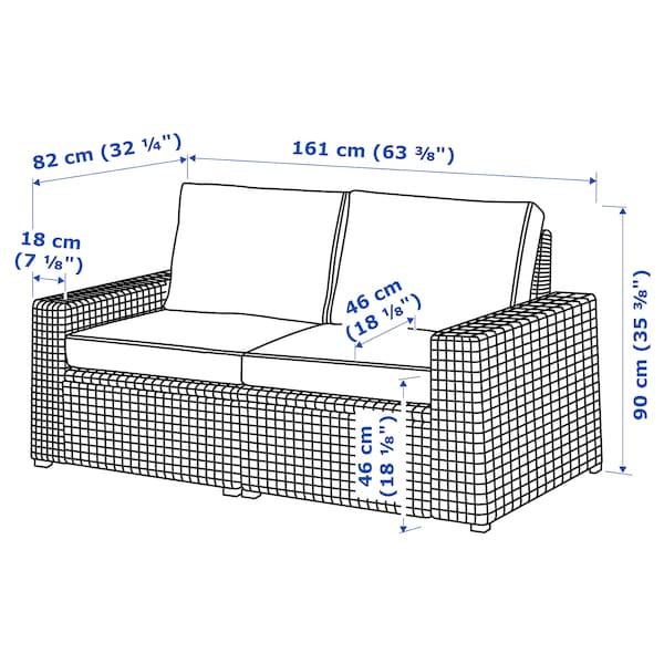 SOLLERÖN Canapé 2 places modulable extérieur, brun/Järpön/Duvholmen anthracite, 161x82x90 cm