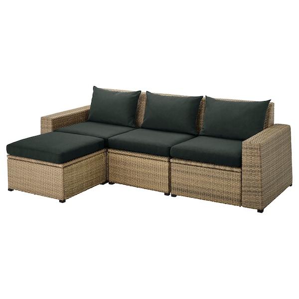SOLLERÖN Canapé 3 places modulable extérieur, avec repose-pied brun/Hållö noir, 223x144x82 cm