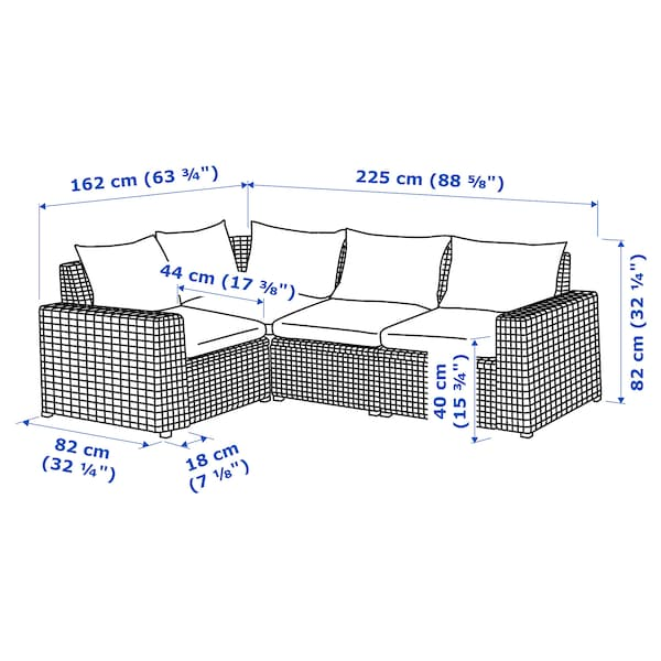 SOLLERÖN Canapé d'angle mod 3pl, ext, gris foncé/Hållö noir