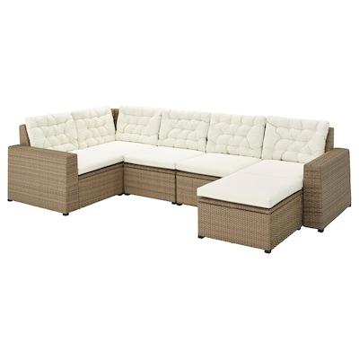 SOLLERÖN Canapé d'angle mod 4pl, ext, avec repose-pied brun/Kuddarna beige