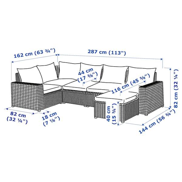 SOLLERÖN Canapé d'angle mod 4pl, ext, avec repose-pied gris foncé/Hållö noir