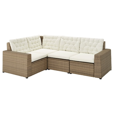 SOLLERÖN canapé d'angle mod 3pl, ext brun/Kuddarna beige 82 cm 84 cm 225 cm 162 cm 56 cm 40 cm