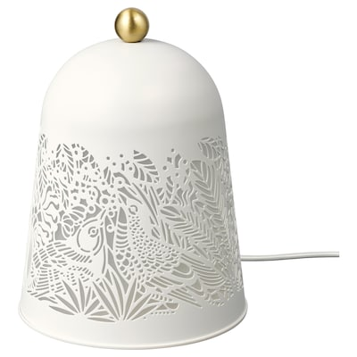 SOLSKUR Lampe de table à LED, blanc/couleur laiton