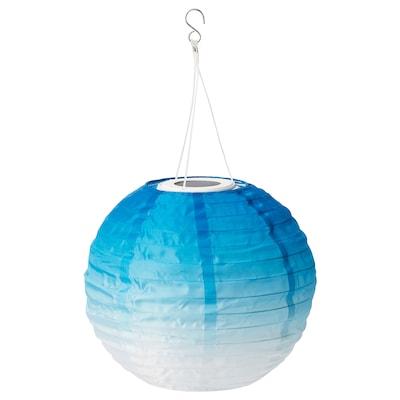 SOLVINDEN Suspension à énergie solaire à LED, extérieur/globe tons bleus, 30 cm