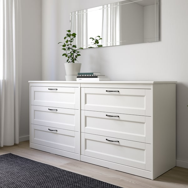 SONGESAND Commode 6 tiroirs, blanc, 161x81 cm