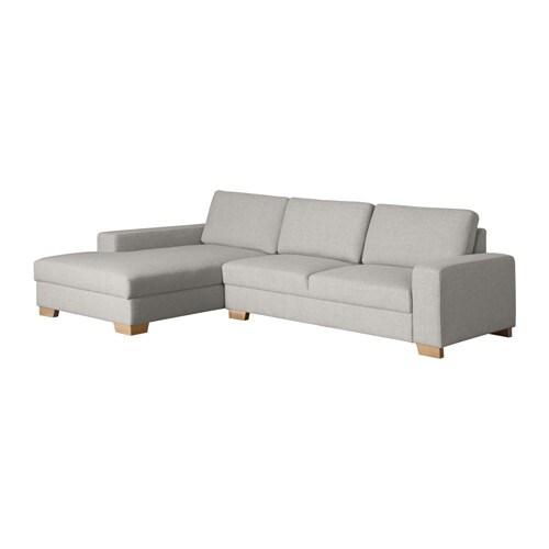 s rvallen canap 3 places avec m ridienne gauche ten gris clair ikea. Black Bedroom Furniture Sets. Home Design Ideas