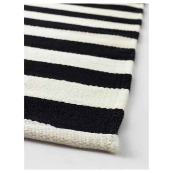 Tapis tissé à plat STOCKHOLM noir rayé fait main, rayé blanc cassé  noir/blanc cassé
