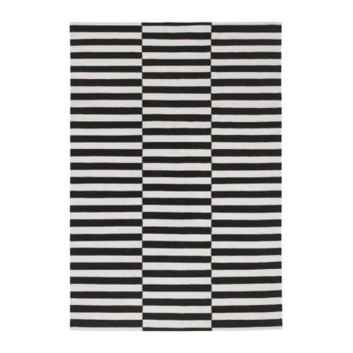 STOCKHOLM - Tapis tissé à plat, noir rayé fait main, rayé blanc cassé  noir/blanc cassé