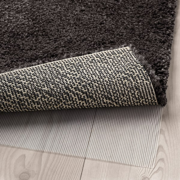 STOENSE Tapis, poils ras, gris foncé, 170x240 cm