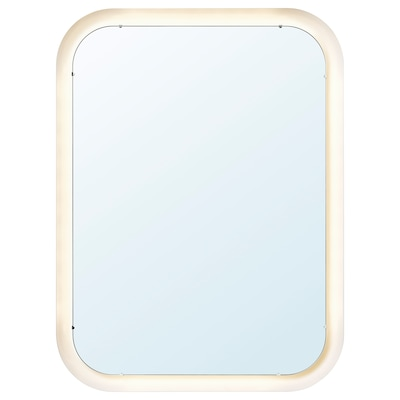 STORJORM Miroir avec éclairage intégré, blanc, 80x60 cm