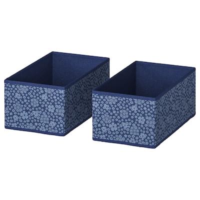 STORSTABBE Rangement tissu, bleu/blanc, 20x37x15 cm
