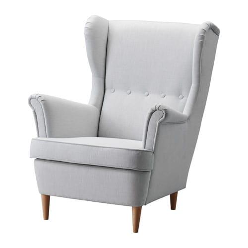 Strandmon fauteuil oreilles nordvalla gris clair ikea for Housse fauteuil a oreilles