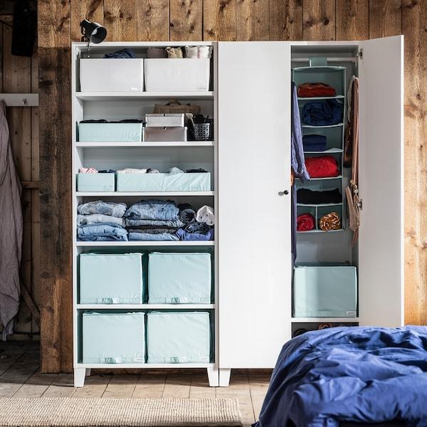 STUK Rangement 7 compartiments, turquoise clair, 30x30x90 cm