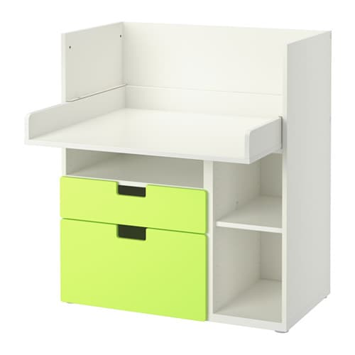 stuva bureau 2 tiroirs blanc vert ikea. Black Bedroom Furniture Sets. Home Design Ideas