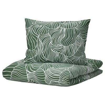 SVAMPMAL Housse de couette et 1 taie, vert foncé/blanc, 150x200/50x60 cm