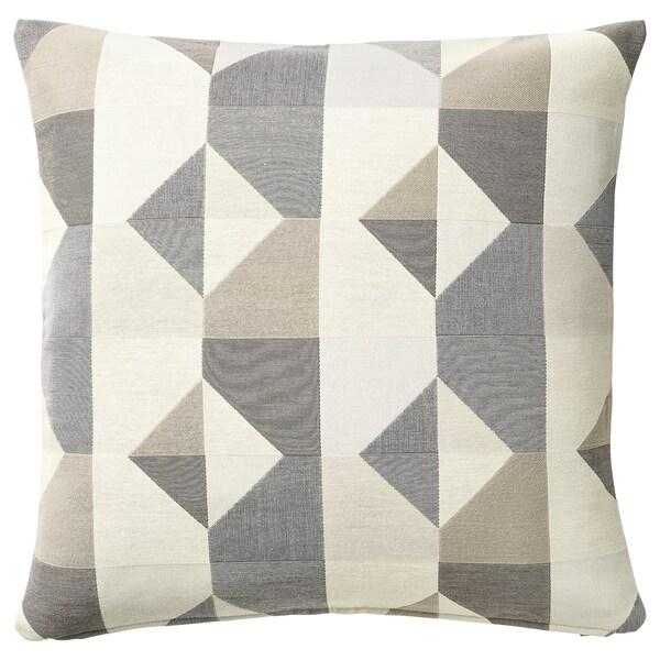 SVARTHÖ Housse de coussin, gris/beige, 50x50 cm