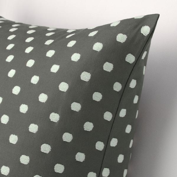 TAGGBRÄKEN Housse de coussin, gris blanc/motif à pois, 50x50 cm