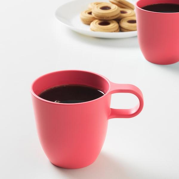 TALRIKA mug rouge clair 8 cm 25 cl 4 pièces