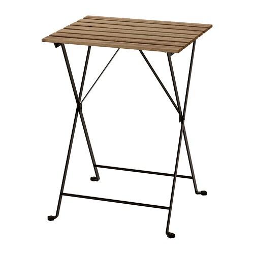 TÄRNÖ - Table, extérieur, noir acacia, acier teinté gris brun