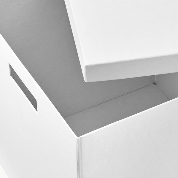 TJENA Boîte de rangement avec couvercle, blanc, 35x50x30 cm