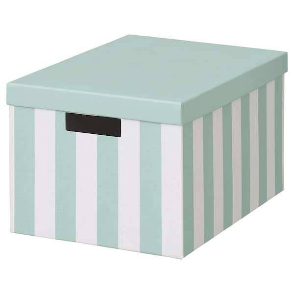 TJENA Boîte de rangement avec couvercle, bleu clair rayure, 25x35x20 cm