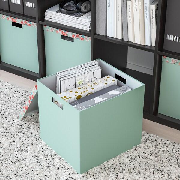 TJENA Boîte de rangement avec couvercle, fleur/vert clair, 32x35x32 cm