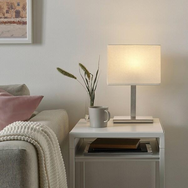 TOMELILLA Lampe de table, nickelé/blanc, 36 cm