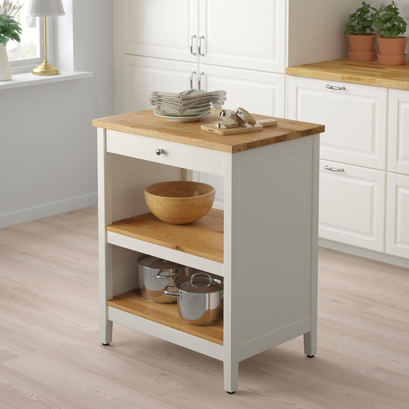 TORNVIKEN Îlot pour cuisine - blanc cassé/chêne 13x13 cm