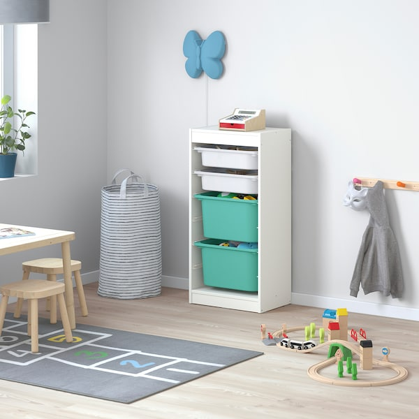 TROFAST Combi rangement+boîtes, blanc/blanc turquoise, 46x30x94 cm