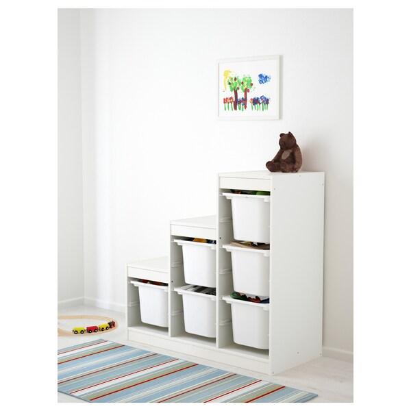 TROFAST Combi rangement+boîtes, blanc, 99x44x94 cm
