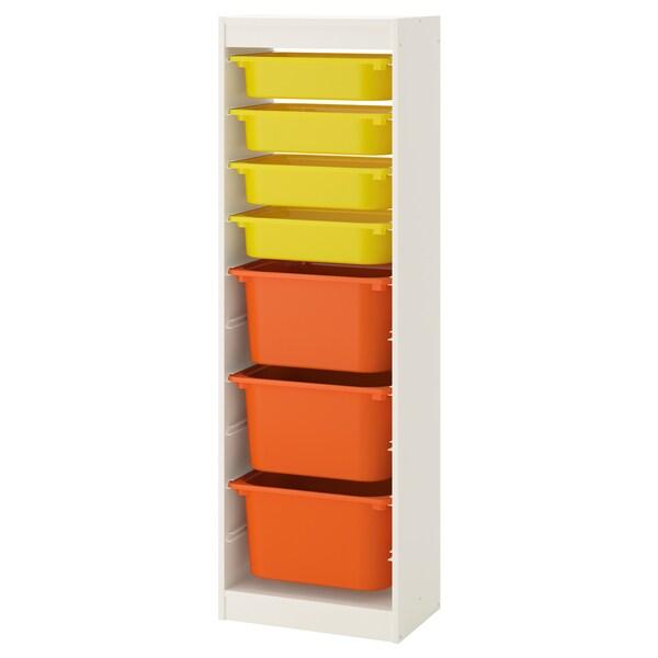 TROFAST combi rangement+boîtes blanc/jaune orange 46 cm 30 cm 145 cm