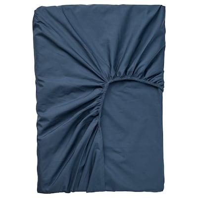ULLVIDE Drap housse pour surmatelas, bleu foncé, 140x200 cm
