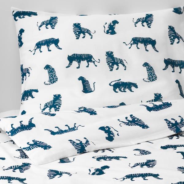 URSKOG Housse de couette et taie, tigre/bleu, 150x200/50x60 cm