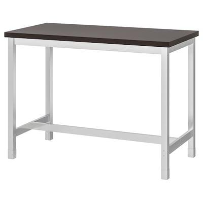 UTBY Table de bar, brun noir/acier inoxydable, 120x60x90 cm