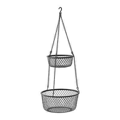 VADHOLMA Rangement suspendu, noir/grillage, 25x63 cm