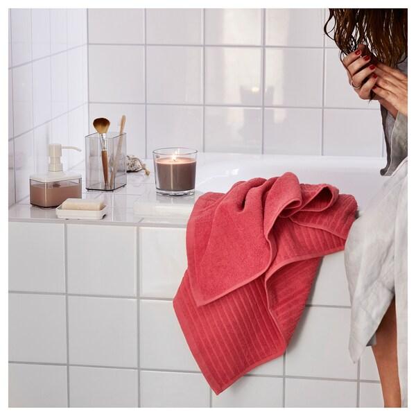 VÅGSJÖN Drap de bain, rouge clair, 70x140 cm