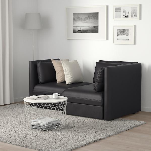 VALLENTUNA canapé modulaire, 2 places avec rangement/Murum noir 186 cm 113 cm 84 cm 100 cm 160 cm 45 cm