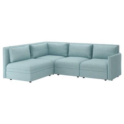 VALLENTUNA Canapé d'angle modulaire, 3 places, avec rangement/Hillared bleu clair