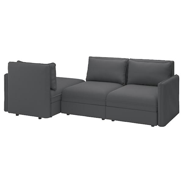 VALLENTUNA Canapé modulaire 3 pl avec conv, avec rangement Kelinge/anthracite